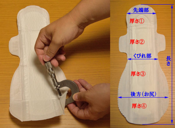ナプキンの測定個所の画像